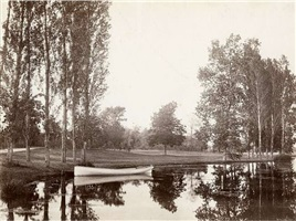 bois de boulogne, pond and boat by charles marville