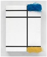 composition avec bleu, jaune et blanc by sylvie fleury