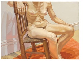 seated nude on salmon colored rug by philip pearlstein
