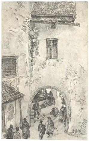 st. michaelstor in brixen by adolph von menzel