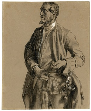 study for the portrait of generallieutenant hans karl von winterfeldt by adolph von menzel