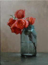 roses in a mason jar by lisa gloria