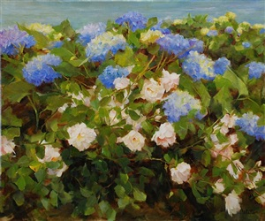 blue hydrangea and roses (sold) by kathy anderson