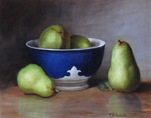 blue bowl with pears by kelly birkenruth