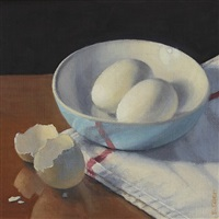 blue bowl with eggs by eileen eder