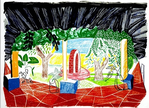 hotel acatlan - view of hotel well 1 by david hockney