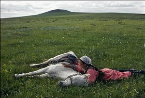 china. inner mongolia. horse training for the militia. 1979. by eve arnold
