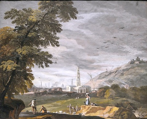 figures in a hilly landscape with saint-martins-in-the-fields in the background by marco ricci