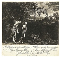 tobias with the angel: large plate by hendrik goudt