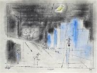 suspense <br /> verso: cityscape by lyonel feininger