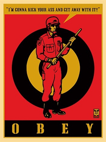 riot cop large format by shepard fairey