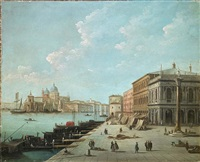 venice, view of the molo, looking toward the zecca with saint teodoro column by giuseppe bernardino bison