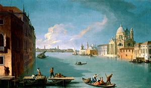 the construction of the bridge for the feast of the madonna della salute by giovanni richter