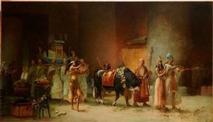 procession du taureau sacré apis by frederick arthur bridgman