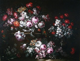 triple arrangement with pink peonies, roses and carnations by giuseppe vincenzino