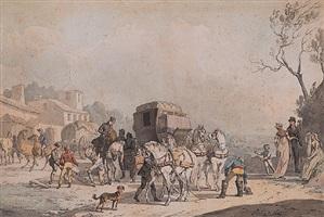 la réparation du fiacre à l'entrée du village by jacques françois joseph swebach-desfontaines