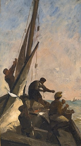 pêcheurs à bord d'un bateau by karl pierre daubigny