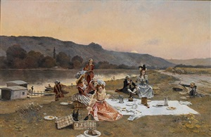 the picnic (la pique nique) by françois flameng