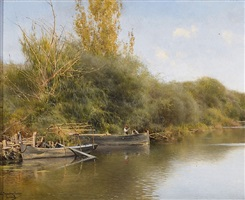 preparing the boat, guillera, seville, spain by emilio sanchez-perrier