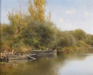 preparing the boat, guillera, seville, spain by emilio sanchez-perrier