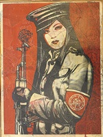 peace guard on wood by shepard fairey