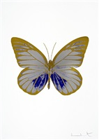 the souls i - silver gloss/westminster blue/oriental gold by damien hirst