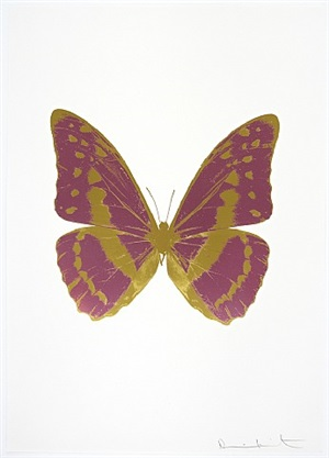 the souls iii - loganberry pink/oriental gold/oriental gold by damien hirst