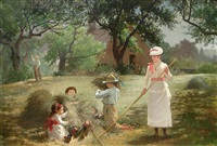 frolicking in hay by james wells champney