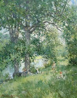 fishing along a vermont stream by howard chandler christy