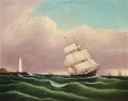 ship passing boston light by clement drew