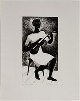 blues player by elizabeth catlett