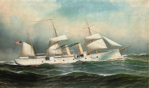 transitional steam-sailor, us naval ship by antonio jacobsen