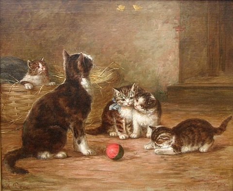 kittens with ball and butterflies by august laux