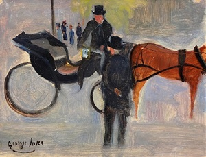 horse and carriage, central park, nyc by george benjamin luks