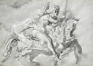 new york girl on a carousel horse by reginald marsh