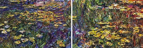 nympheas after claude monet pictures of magazines 2 diptych by vik muniz