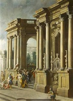 an architectural cappriccio with elegant figures in a portico by vittorio maria bigari