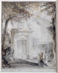 porte d¹hôtel et monument funéraire à chaillot by gabriel jacques de saint-aubin