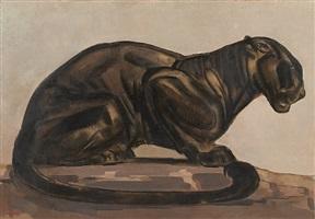 panthère noire assise by paul jouve