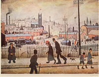 view of a town. by laurence stephen lowry