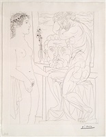 modele nu et sculptures bloch 185 from the vollard suite by pablo picasso
