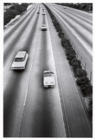 sports car from freeway overpass, from the los angeles series by bruce davidson