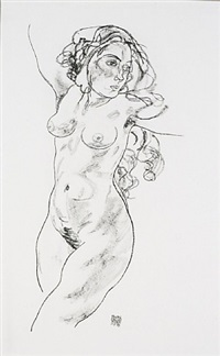 <u>standing female nude</u> from handzeichnungen by egon schiele