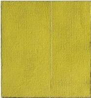 gelbe struktur mit weisser linie by gerhard von graevenitz