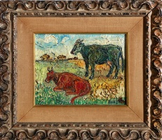 red cow, green cow by david davidovich burliuk