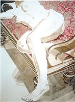 nude on settee by philip pearlstein