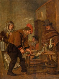 peasants cleaning fish on a table by petrus staverenus