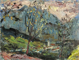 landscape in vorarlberg, götzis by hans fronius