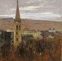 view of the church st. michael in heiligenstadt by carl moll