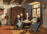 the sewing circle (by matthijs theodorus mauritius van salk) by david adolf constant artz
